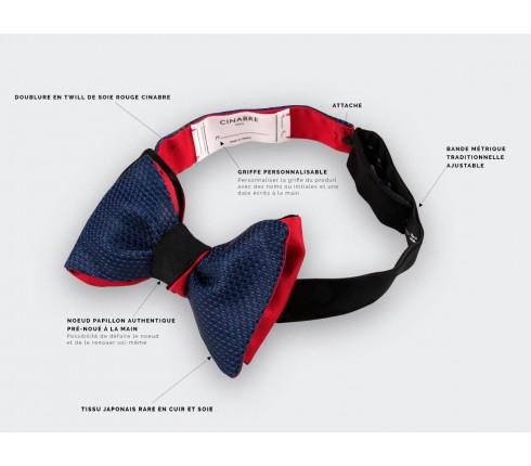 Blue Leather Bow Tie - CINABRE Paris