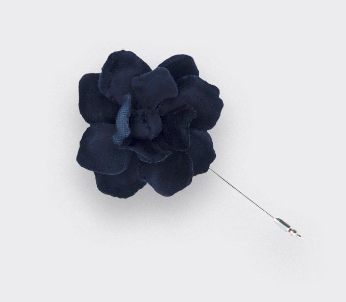 Navy Blue Velvet Gardenia Lapel Pin - cotton - Cinabre Paris