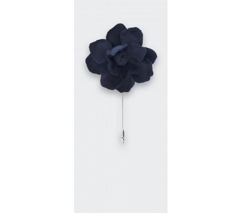 boutonnière S velours bleu - coton - cinabre paris