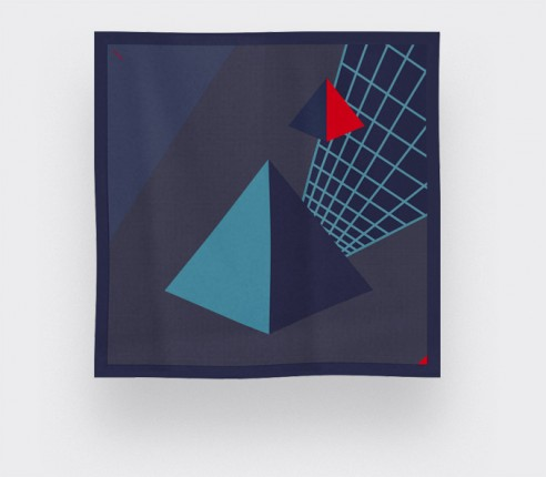 Grey Blue UFO Pyramid Scarf - CINABRE Paris