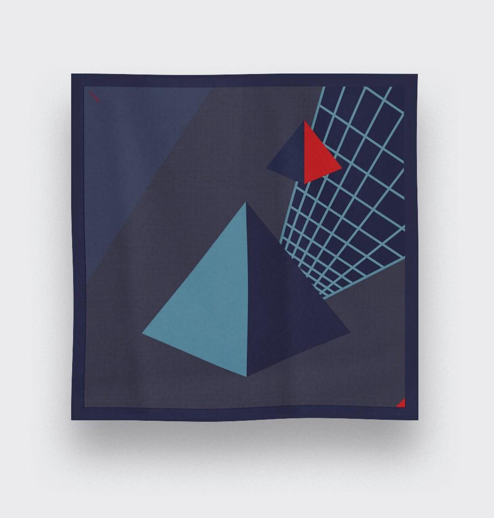 Foulard UFO Pyramide Bleu Gris - CINABRE Paris