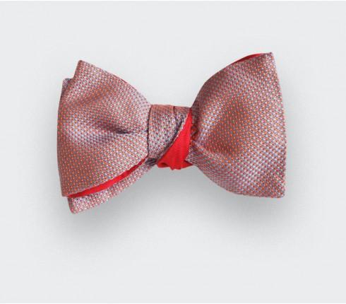 Noeud papillon soie tissée corail - soie - CINABRE Paris