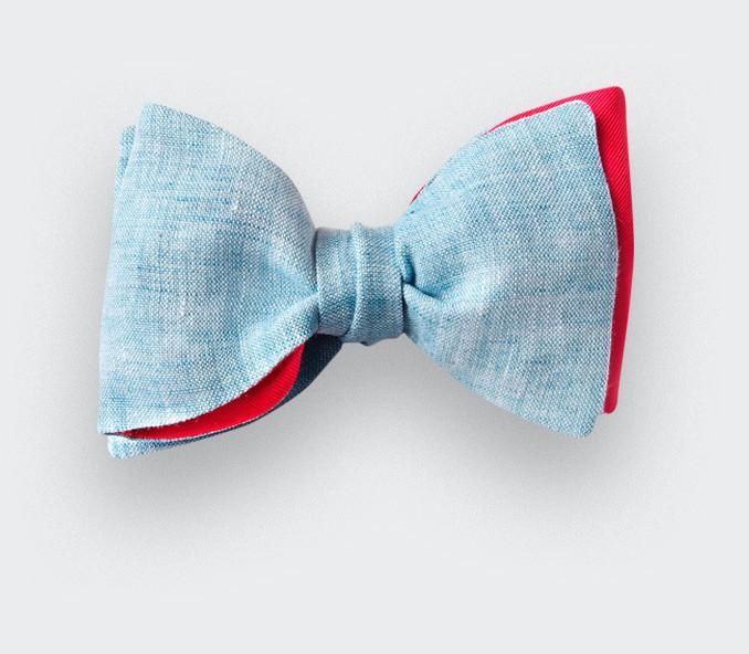 Frosty Blue Linen Bow Tie