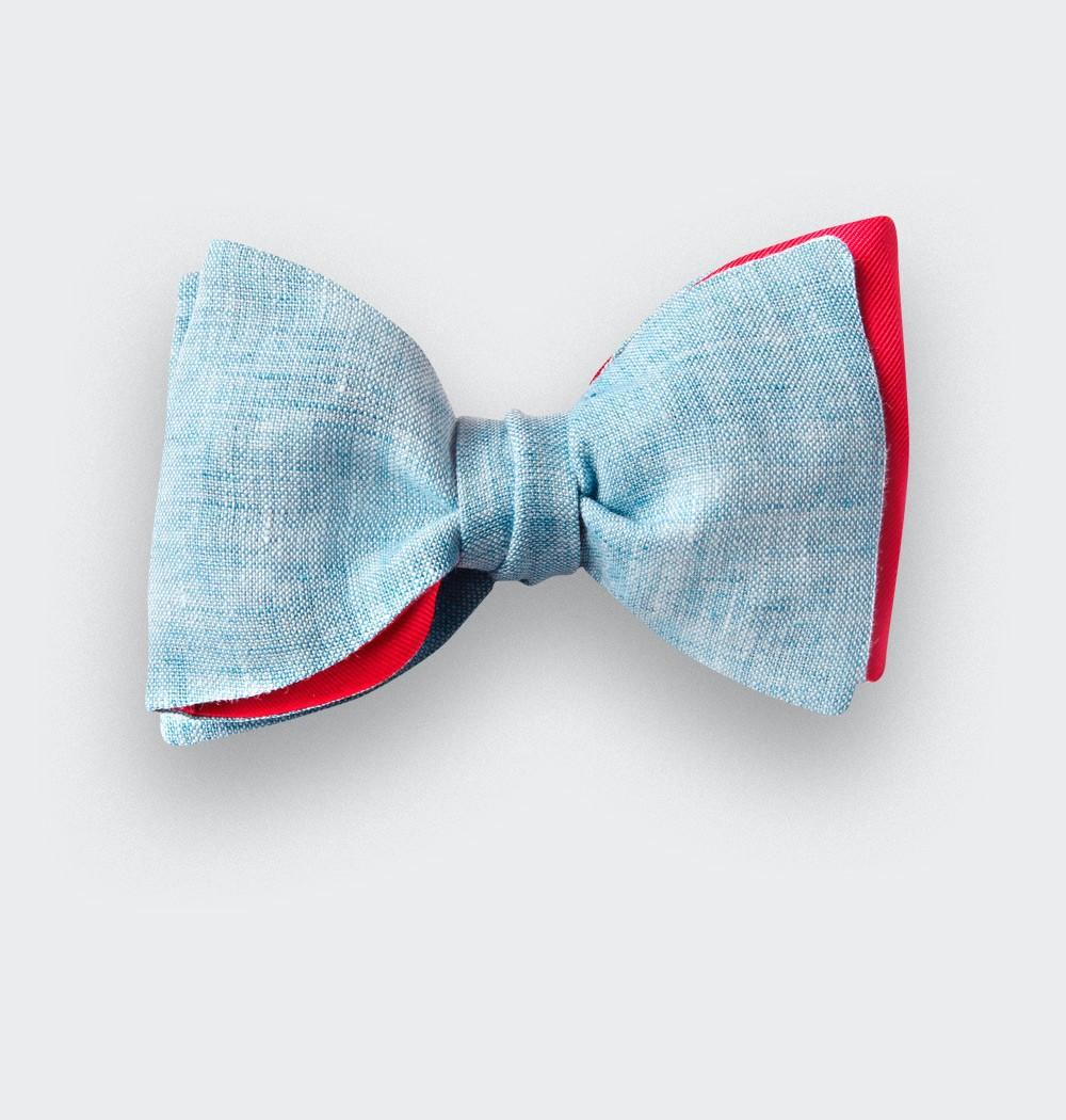Noeud Papillon Lin Bleu Givré - CINABRE Paris