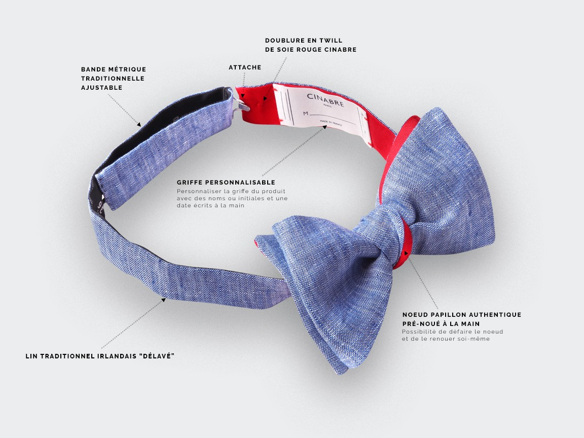 Washed Blue Linen Bow Tie - Cinabre Paris
