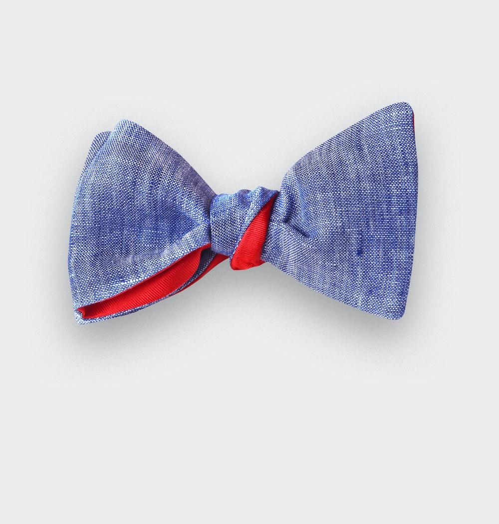 Noeud Papillon Lin Bleu Délavé - CINABRE Paris
