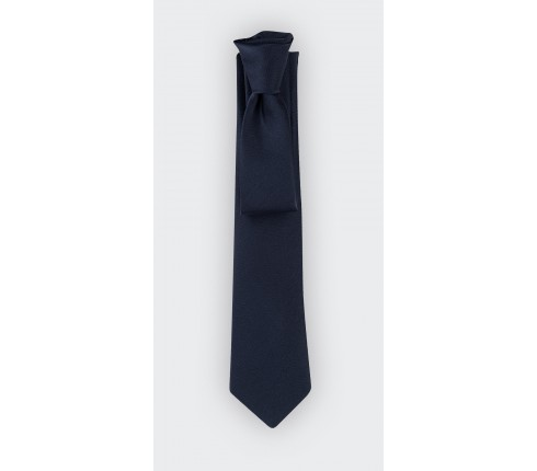 Navy blue satin tie - French president tie - Handmade in the Loire Castle Valley, France by Cinabre Paris
