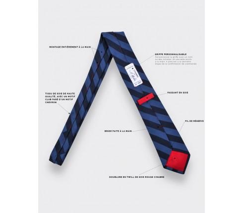 cravate Club Chevron bleu - cinabre paris