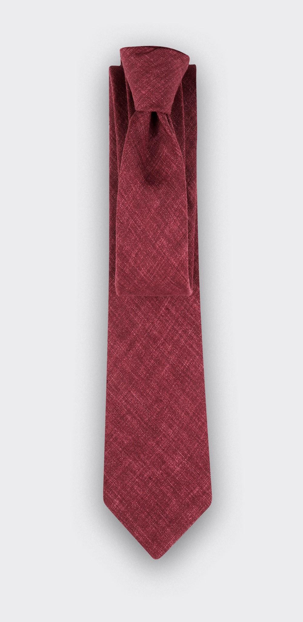 cravate lin bordeaux - cinabre