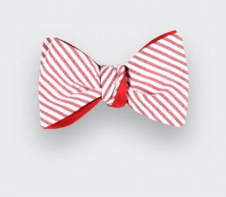 Red Striped Seersucker bow tie