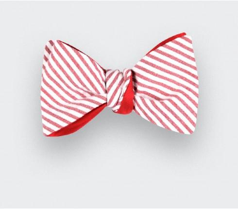 Noeud Papillon Seersucker rayé rouge - coton seersucker et soie - CINABRE Paris