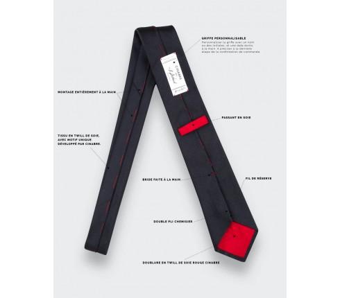Cravate ESCP Cinabre - détails techniques