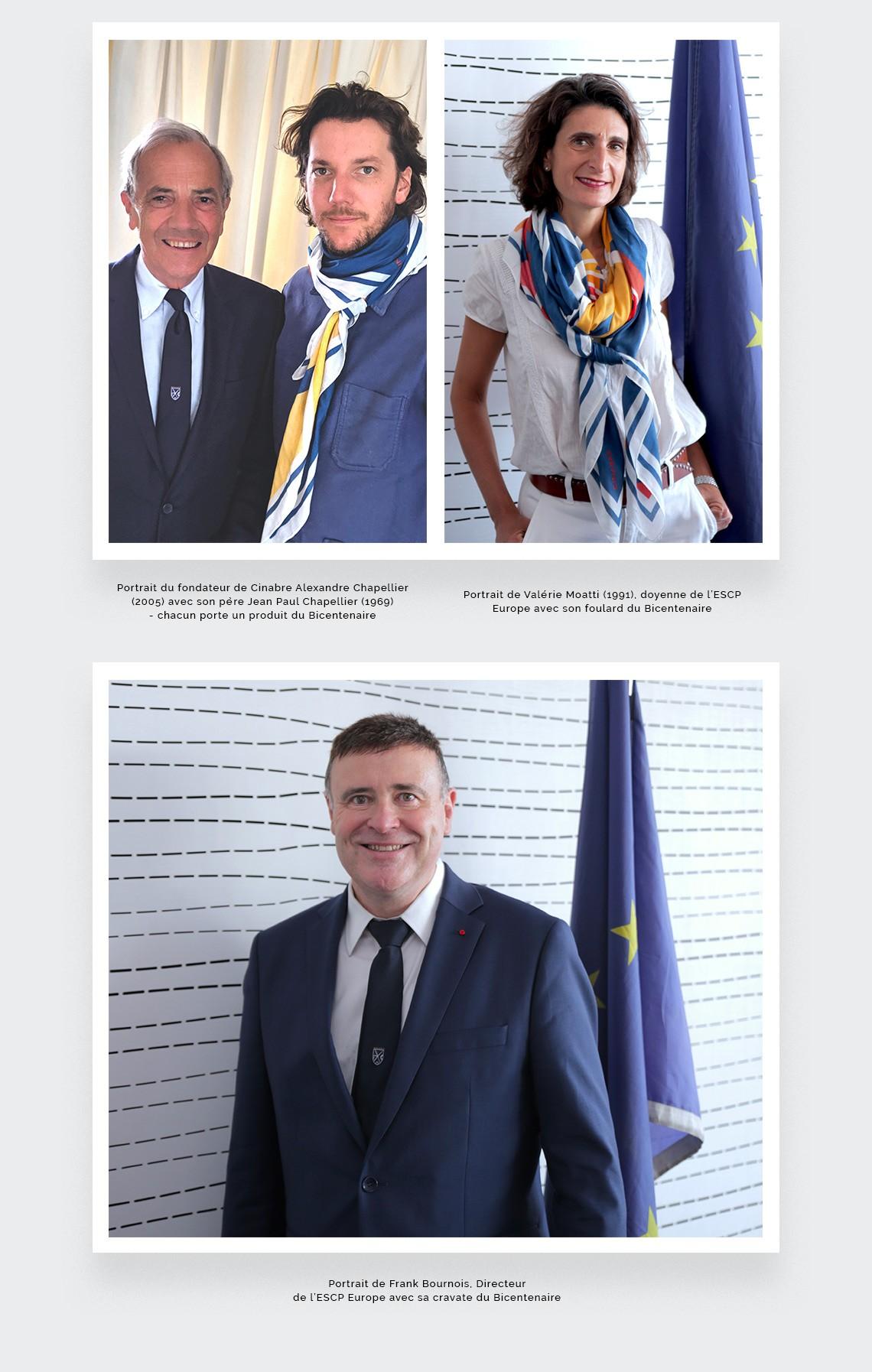 Foulards et cravates ESCP du Bicentenaire par Cinabre Paris. Portraits