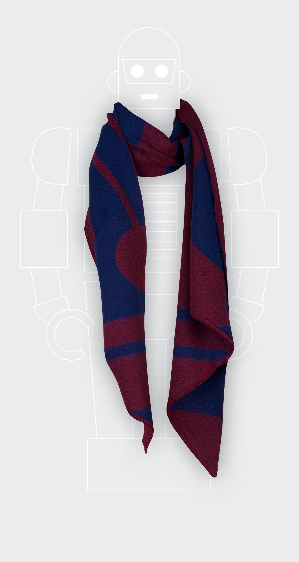 Red-wine scarf in merino wool from Cinabre