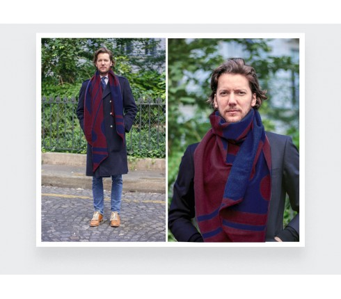 Wine red scarf in merino wool by Cinabre