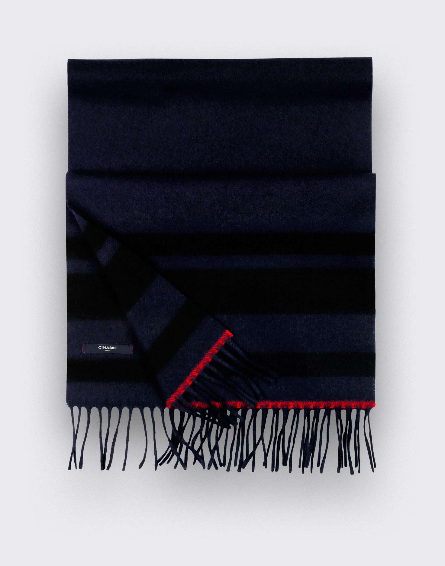 Écharpe cachemire recyclé marine noir - Cinabre Paris