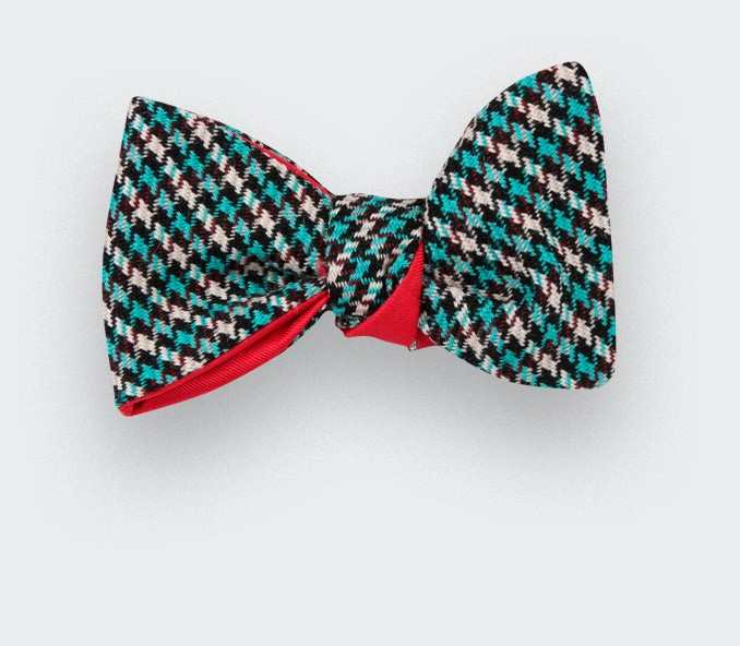 Bow tie Cinabre Blue Vintage Houndstooth,  made in France