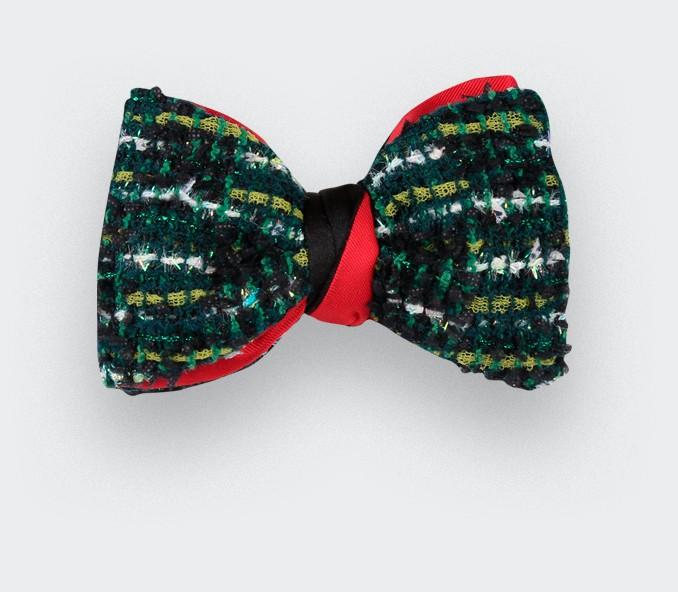 Nœud papillon en tweed couture vert, fait main en France - Cinabre Paris