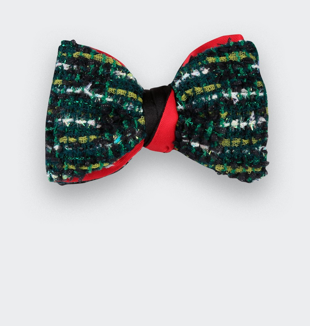 Green wool bow tie with lurex, handmade in France - Cinabre Paris