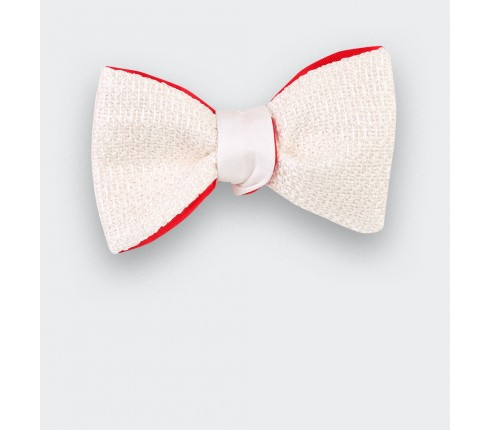 Silver White bow tie handmade in France