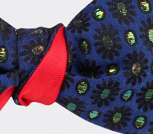Flower Lurex Bow Tie - Cinabre - Handmade in France