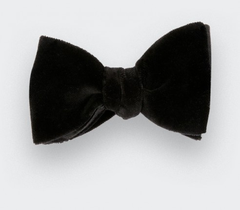 Black velvet bow tie - Handmade by Cinabre Paris