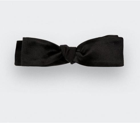 Black satin batwing bow tie - Handmade by Cinabre Paris