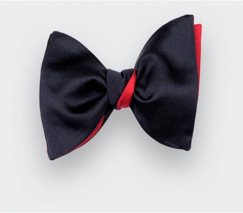 Large Midnight Blue Satin Bow Tie - Handmade by Cinabre Paris