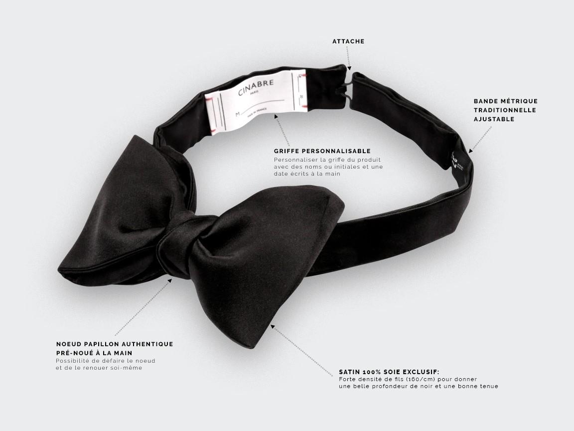 Black Swan Bow Tie - Handmade by Cinabre Paris