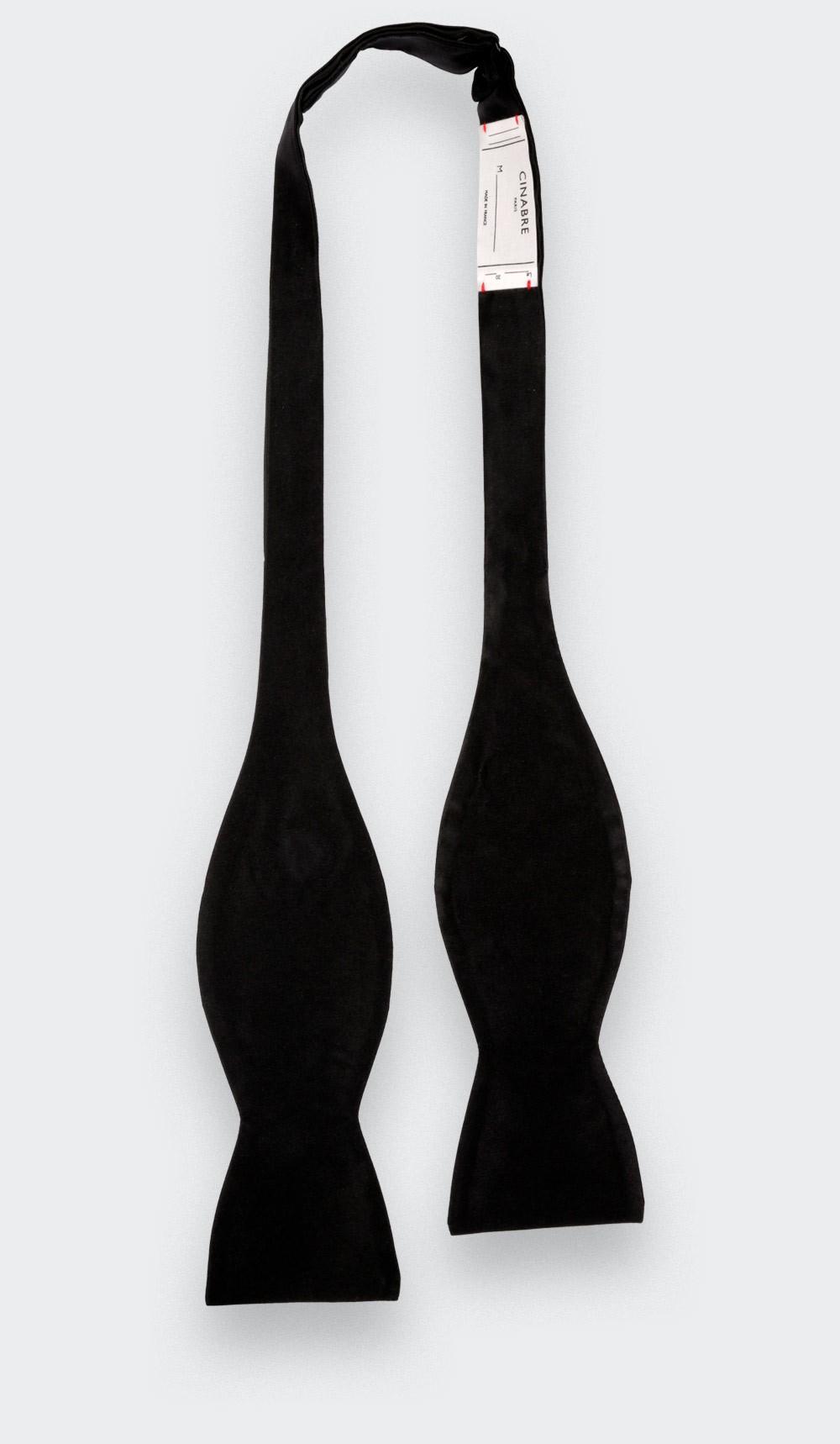 Noeud Papillon A Nouer Satin Noir Classique - Fait main par Cinabre