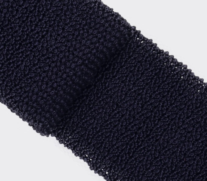 Navy Blue Knitted Tie - Cinabre Paris