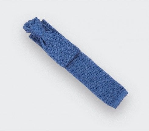 Sky Blue Knitted Tie - Cinabre Paris