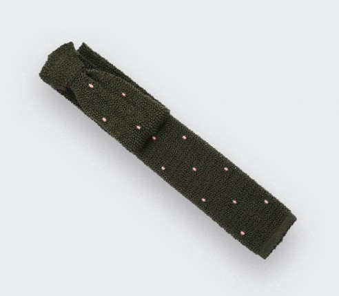 Light Pink Polka Dots Khaki Knitted Tie - Cinabre Paris
