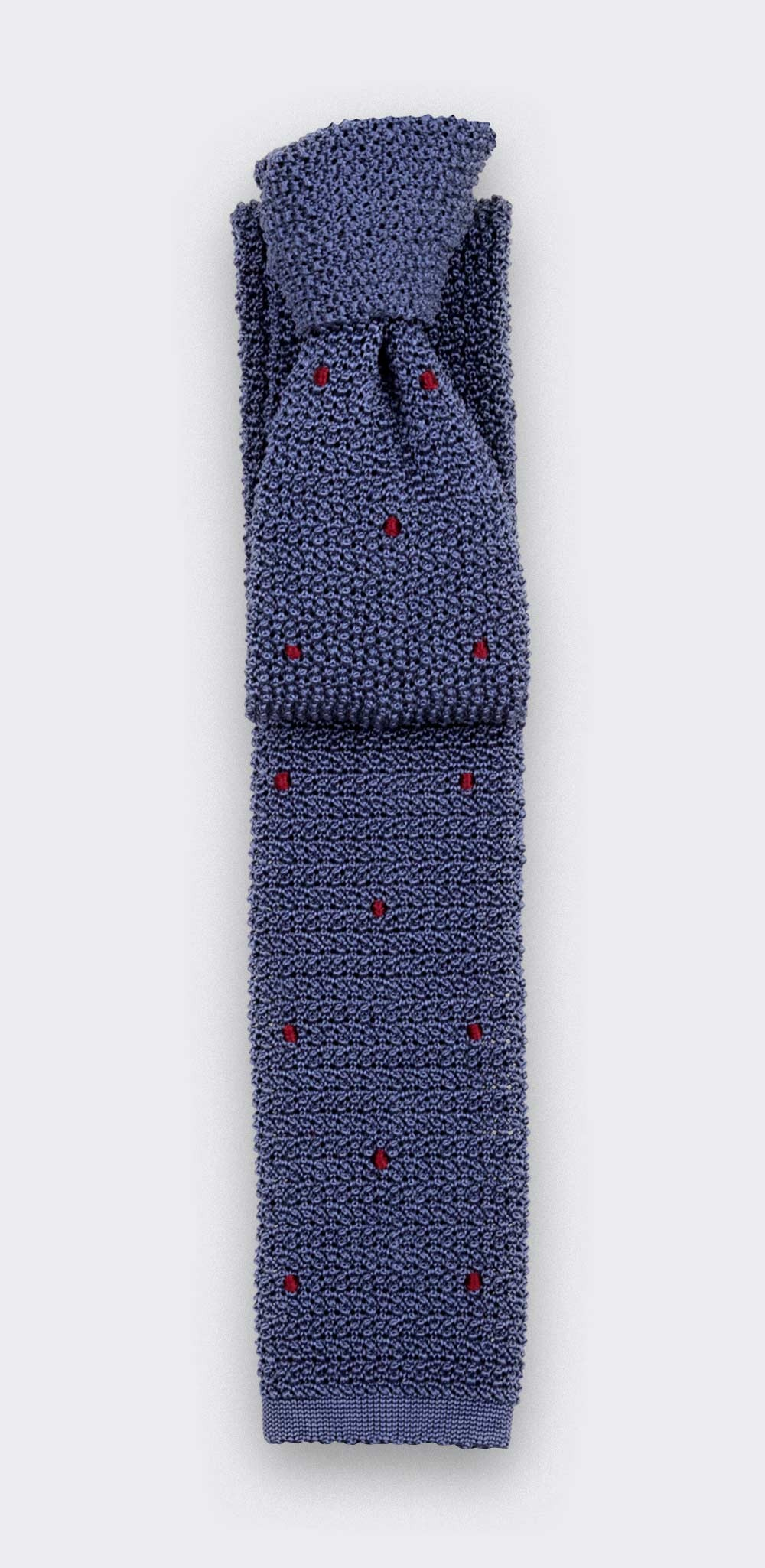 Burgundy Polka Dots Blue Knitted Tie - Cinabre Paris