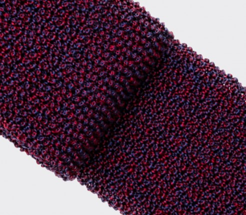 Burgundy Navy Blue Knitted Tie - Cinabre Paris