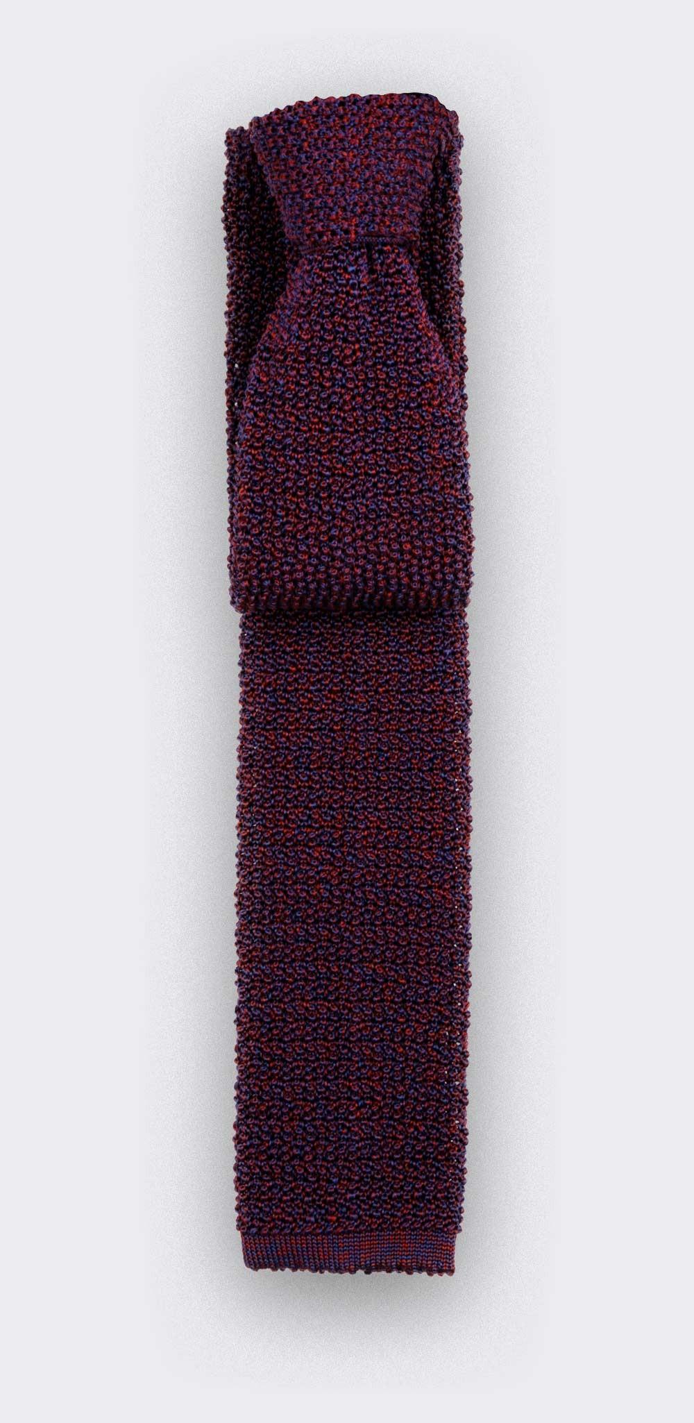 Cravate Tricot Marine Bordeaux - Cinabre Paris