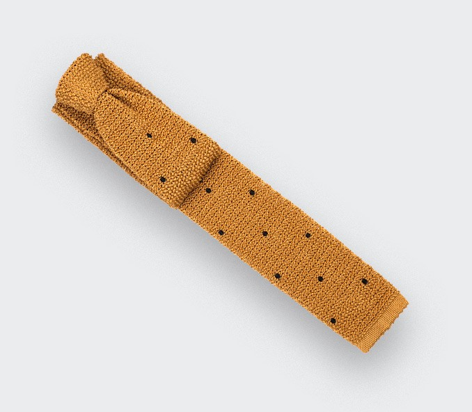 Cravate Tricot Moutarde Pois Noir  - Cinabre paris