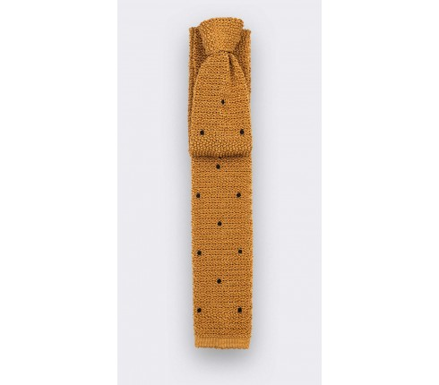 Black Polka Dots Mustard Knitted Tie -  Cinabre Paris