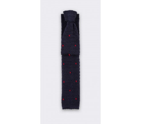 Burgundy Polka Dots Navy Blue Knitted Tie - Handmade by Cinabre Paris