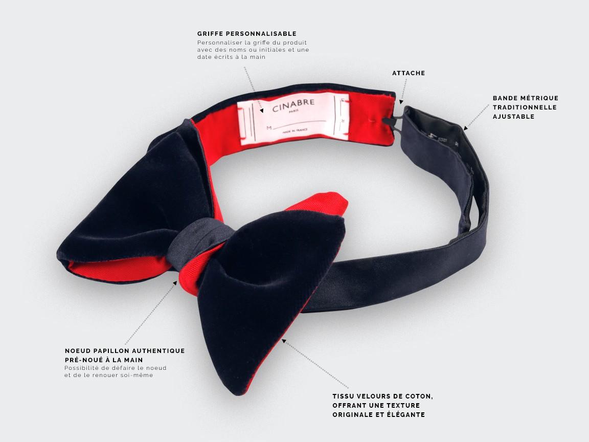 Noeud Papillon - Velours Satin Marine - Cinabre paris