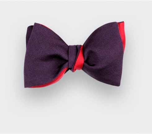 Purple Faille Bow tie - Handmade by Cinabre Paris