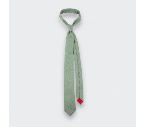 Light Green Herringbone Tie - handmade in France by Cinabre Paris