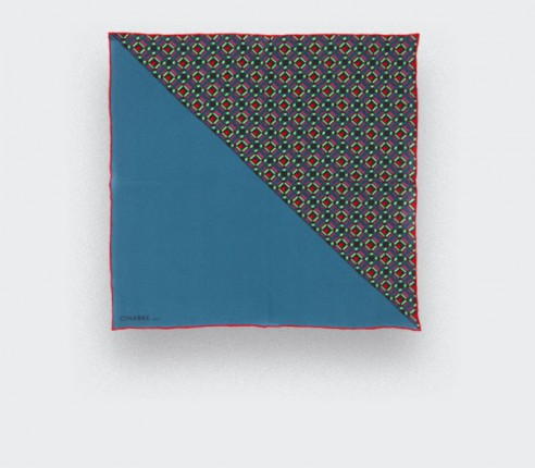 Silk pocket square Cinabre hand made in France