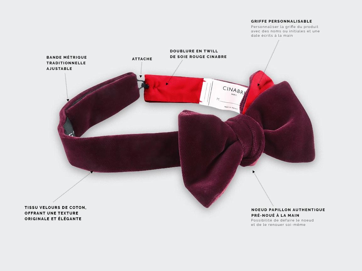 Wine-Red Velvet Bow Tie