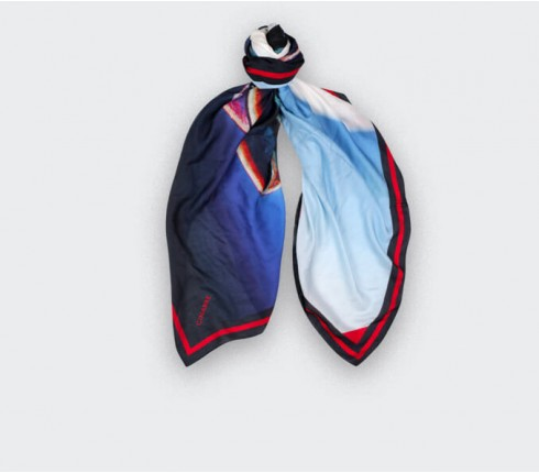 Blue scarf Here they Come cashmere and modal by Cinabre Paris