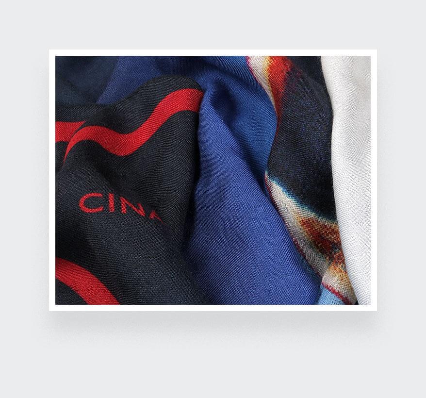 Foulard Cinabre Ils arrivent bleu en cachemire et modal