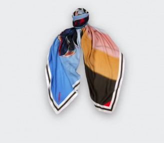 Foulard kaki et bleu Cinabre Paris Ils Arrivent en cachemire et modal