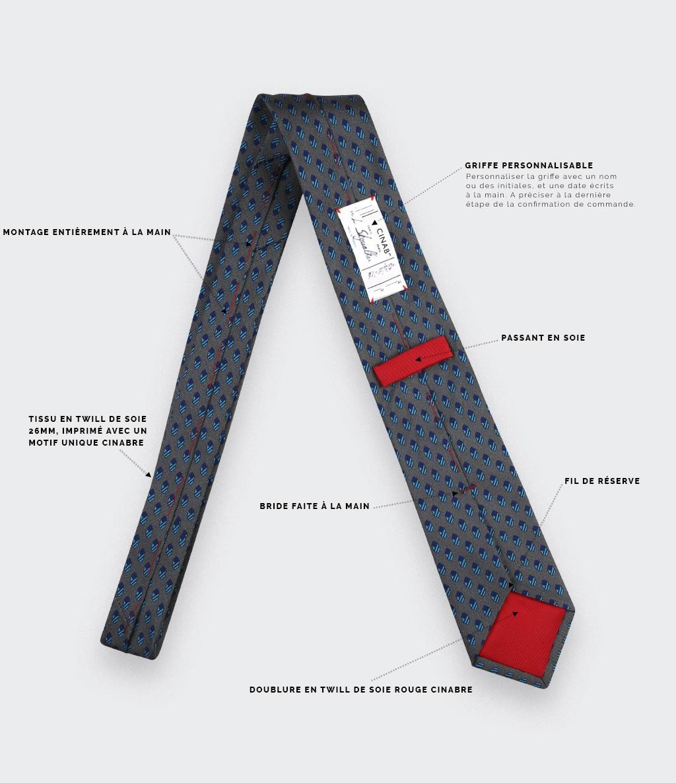Cravate Grand Pan Gris - Cinabre Paris