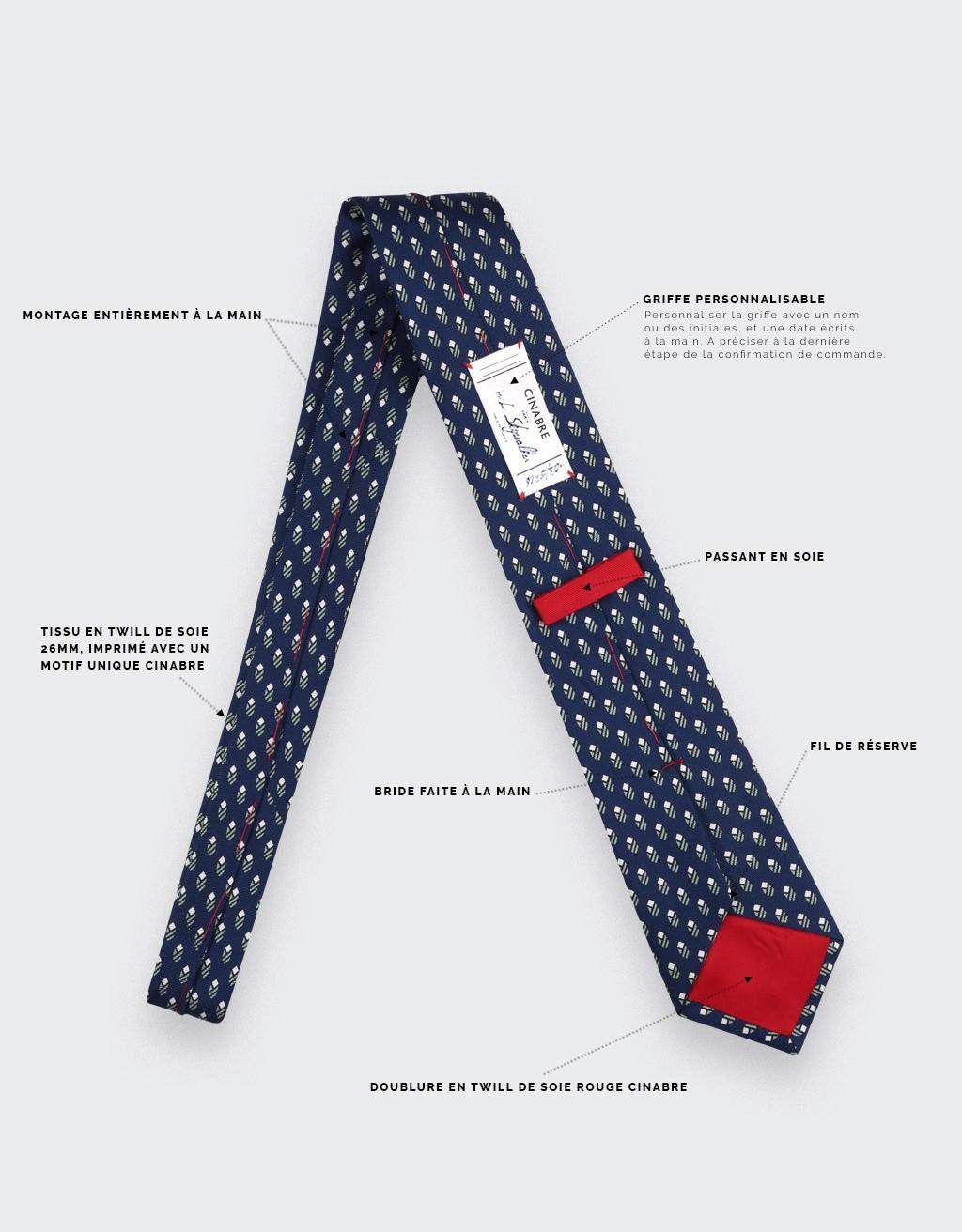 Navy Blue Grey Grand Pan Tie - Cinabre Paris