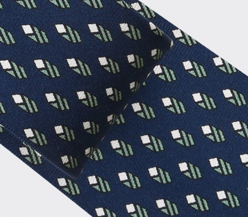 Navy Blue Grey Grand Pan Tie - Cinabre Paris